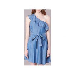 Sukienki krótkie MICHAEL Michael Kors  ONE SHLDR RUFFLE DRS. Niebieskie sukienki mini marki MICHAEL Michael Kors, z krótkim rękawem. Za 647,20 zł.