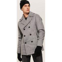 Dwurzędowy płaszcz z wełną - Szary. Szare płaszcze na zamek męskie marki House, l, z wełny. Za 329,99 zł.