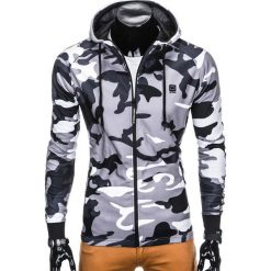 Bluzy męskie: BLUZA MĘSKA ROZPINANA Z KAPTUREM B741 – SZARA/MORO