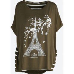 Khaki T-shirt Diamonds Is Forever. Brązowe bluzki asymetryczne Born2be, xl. Za 29,99 zł.