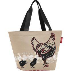 Shopper bag damskie: Shopper bag w kolorze beżowo-czerwonym – 51 x 30,5 x 26 cm