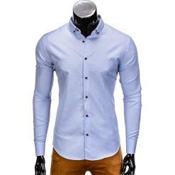 KOSZULA MĘSKA ELEGANCKA Z DŁUGIM RĘKAWEM K358 - BŁĘKITNA. Niebieskie koszule męskie na spinki Ombre Clothing, m, z bawełny, z kontrastowym kołnierzykiem, z długim rękawem. Za 49,00 zł.