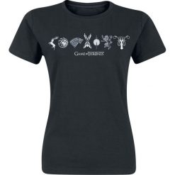 Gra o Tron Horizontal Sigils Koszulka damska czarny. Czarne bluzki na imprezę Gra o Tron, xxl, z nadrukiem, z okrągłym kołnierzem. Za 42,90 zł.