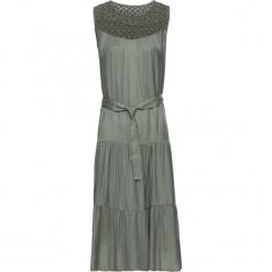 Sukienka z domieszką jedwabiu bonprix khaki. Zielone sukienki balowe marki bonprix, w koronkowe wzory, z koronki. Za 89,99 zł.