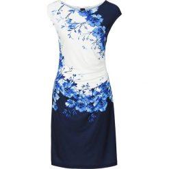 Sukienka z marszczeniami bonprix czarno-ciemnoniebieski z nadrukiem. Czerwone sukienki letnie marki bonprix. Za 99,99 zł.