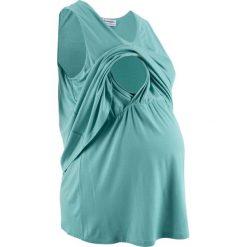 Top ciążowy i do karmienia piersią bonprix niebieski mineralny. Niebieskie bluzki ciążowe marki bonprix, z materiału, z dekoltem w serek. Za 49,99 zł.