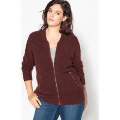 Swetry damskie: Krótki sweter-kardigan z dekoltem w serek