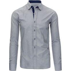 Koszule męskie na spinki: Czarno-biała koszula męska w kratę z długim rękawem (dx1296)
