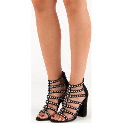 Rzymianki damskie: Czarne sandałki na słupku Sergio todzi czarne
