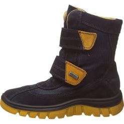 """Kozaki """"Bazena"""" w kolorze granatowym. Niebieskie buty zimowe chłopięce Naturino, z materiału. W wyprzedaży za 215,95 zł."""
