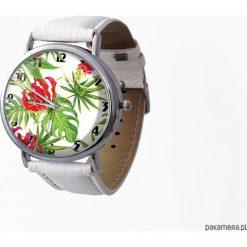 Zegarek z dużą tarczką Tropikalne kwiaty. Szare zegarki damskie Pakamera. Za 120,00 zł.