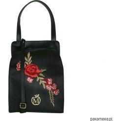 Kuferki damskie: Stylowa torebka kuferek MANZANA róże CZARNA