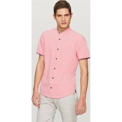 Koszule męskie na spinki: Koszula z krótkim rękawem slim fit – Pomarańczo