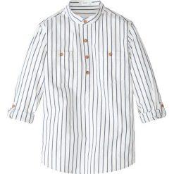Koszula z wywijanymi rękawami bonprix biel wełny - indygo w paski. Białe bluzki dziewczęce w paski marki bonprix, z klasycznym kołnierzykiem, z krótkim rękawem. Za 54,99 zł.