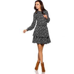 Klasyczna koszulowa sukienka kropki. Szare sukienki balowe marki Lemoniade, na jesień, w kropki, z klasycznym kołnierzykiem, mini, koszulowe. Za 249,90 zł.