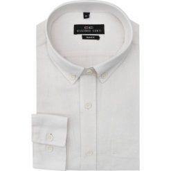 Koszula lniana SIMONE KLBS000004. Białe koszule męskie na spinki marki INESIS, m, z bawełny, z długim rękawem. Za 169,00 zł.