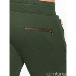 SPODNIE MĘSKIE DRESOWE P463 - ZIELONE. Zielone joggery męskie marki Ombre Clothing, z bawełny. Za 39,00 zł.
