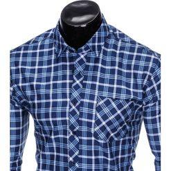 KOSZULA MĘSKA W KRATĘ Z DŁUGIM RĘKAWEM K416 - GRANATOWA/BŁĘKITNA. Brązowe koszule męskie na spinki marki Ombre Clothing, m, z aplikacjami, z kontrastowym kołnierzykiem, z długim rękawem. Za 49,00 zł.