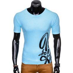 T-SHIRT MĘSKI Z NADRUKIEM S992 - NIEBIESKI. Niebieskie t-shirty męskie z nadrukiem Ombre Clothing, m. Za 29,00 zł.