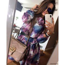 Sukienka Female Violet. Niebieskie sukienki mini marki bonprix, na spacer, na lato, w koronkowe wzory, z bawełny, dopasowane. Za 79,00 zł.