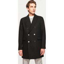 Dwurzędowy płaszcz z wełną - Czarny. Czarne płaszcze na zamek męskie marki LANCERTO, na jesień, m, z bawełny, casualowe. Za 349,99 zł.