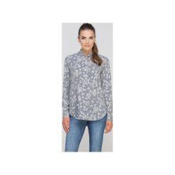 Koszula ze stójką, K107. Szare koszule wiązane damskie Lanti, z tkaniny, eleganckie, ze stójką. Za 119,00 zł.