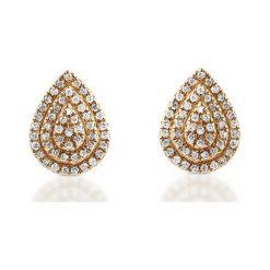 Złote Kolczyki - złoto żółte 585, Diament 0,15ct - 2