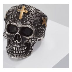 Sygnety męskie: Royal Ego SKULL CROSS Pierścionek silvercoloured/goldcoloured