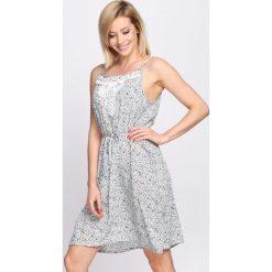 Sukienki: Biało-Zielona Sukienka Peonies