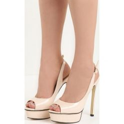 Beżowe Sandały My Way. Brązowe sandały damskie marki Born2be, z lakierowanej skóry, na wysokim obcasie, na obcasie. Za 59,99 zł.