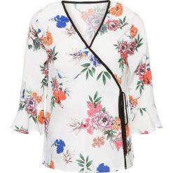 Bluzki damskie: Bluzka z założeniem kopertowym bonprix ecru w kwiaty
