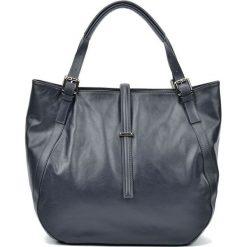 Torebki i plecaki damskie: Skórzana torebka w kolorze granatowym – (S)30 x (W)45 x (G)13 cm