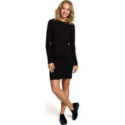 Sukienki: Gładka sukienka z dzianiny dresowej i ściągacza - czarna