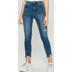 Jeansy skinny z wysokim stanem - Niebieski. Niebieskie spodnie z wysokim stanem Sinsay, z jeansu. Za 79,99 zł.