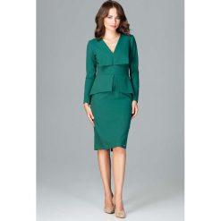 Zielona Wizytowa Sukienka z Asymetryczna Baskinką. Czarne sukienki asymetryczne marki bonprix, do pracy, w paski, biznesowe, moda ciążowa. Za 173,90 zł.