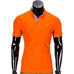 KOSZULKA MĘSKA POLO BEZ NADRUKU S837 - POMARAŃCZOWA. Brązowe koszulki polo Ombre Clothing, m, z nadrukiem. Za 39,00 zł.
