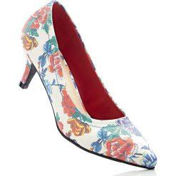 Buty ślubne damskie: Czółenka bonprix biały w kwiaty