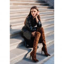 Panterkowe Kozaki Wild Cheetah. Szare buty zimowe damskie other, z materiału, ze szpiczastym noskiem, na wysokim obcasie, na szpilce. Za 219,99 zł.