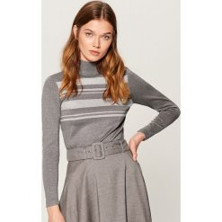 Dopasowany sweter z golfem - Szary. Szare golfy damskie marki Mohito, l. Za 89,99 zł.