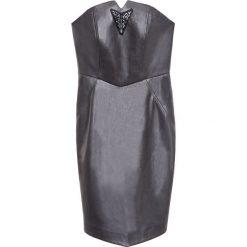 Simple - Sukienka. Szare sukienki balowe Simple, z poliesteru, mini, dopasowane. W wyprzedaży za 179,90 zł.