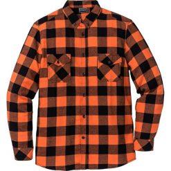 Koszule męskie: Koszula flanelowa z długim rękawem Slim Fit bonprix ciemnopomarańczowo-czarny w kratę