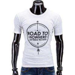 T-SHIRT MĘSKI Z NADRUKIEM S558 - BIAŁY. Zielone t-shirty męskie z nadrukiem marki Ombre Clothing, na zimę, m, z bawełny, z kapturem. Za 29,00 zł.