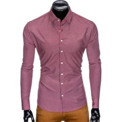 KOSZULA MĘSKA ELEGANCKA Z DŁUGIM RĘKAWEM K424 - CZERWONA. Brązowe koszule męskie marki Ombre Clothing, m, z aplikacjami, z kontrastowym kołnierzykiem, z długim rękawem. Za 49,00 zł.