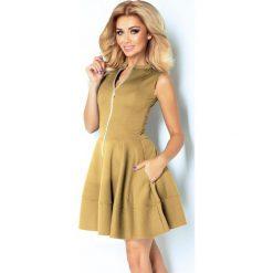 Sukienki: Francesca Sukienka z ekspresem z przodu i kieszonkami – BEŻOWA