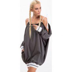 Sukienki: Ciemnoszara sukienka sportowa oversize 1312
