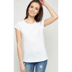Bluzki damskie: Bluzka basic krótki rękaw biała