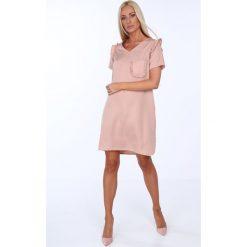 Sukienki: Sukienka z kieszonką pudrowy róż 21663