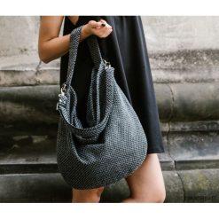Workowata szara torba z melanżowej tkaniny. Szare torebki klasyczne damskie Pakamera, z tkaniny, duże. Za 179,00 zł.
