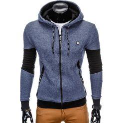 BLUZA MĘSKA ROZPINANA Z KAPTUREM B744 - GRANATOWA. Niebieskie bluzy męskie rozpinane Ombre Clothing, m, z bawełny, z kapturem. Za 79,00 zł.