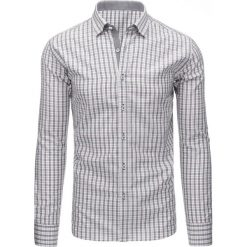 Koszule męskie na spinki: Szara koszula męska w kratę z długim rękawem (dx1483)
